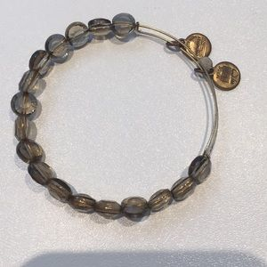Alex and Ani Gold and Smokey Beaded Bangle